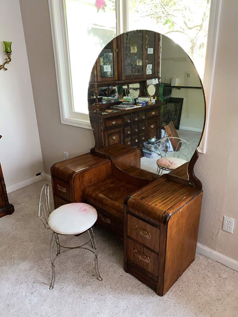 Lot # 48 - Beautiful Antique Vanity w/Dovetail Drawers & Extra Hardware (main image)
