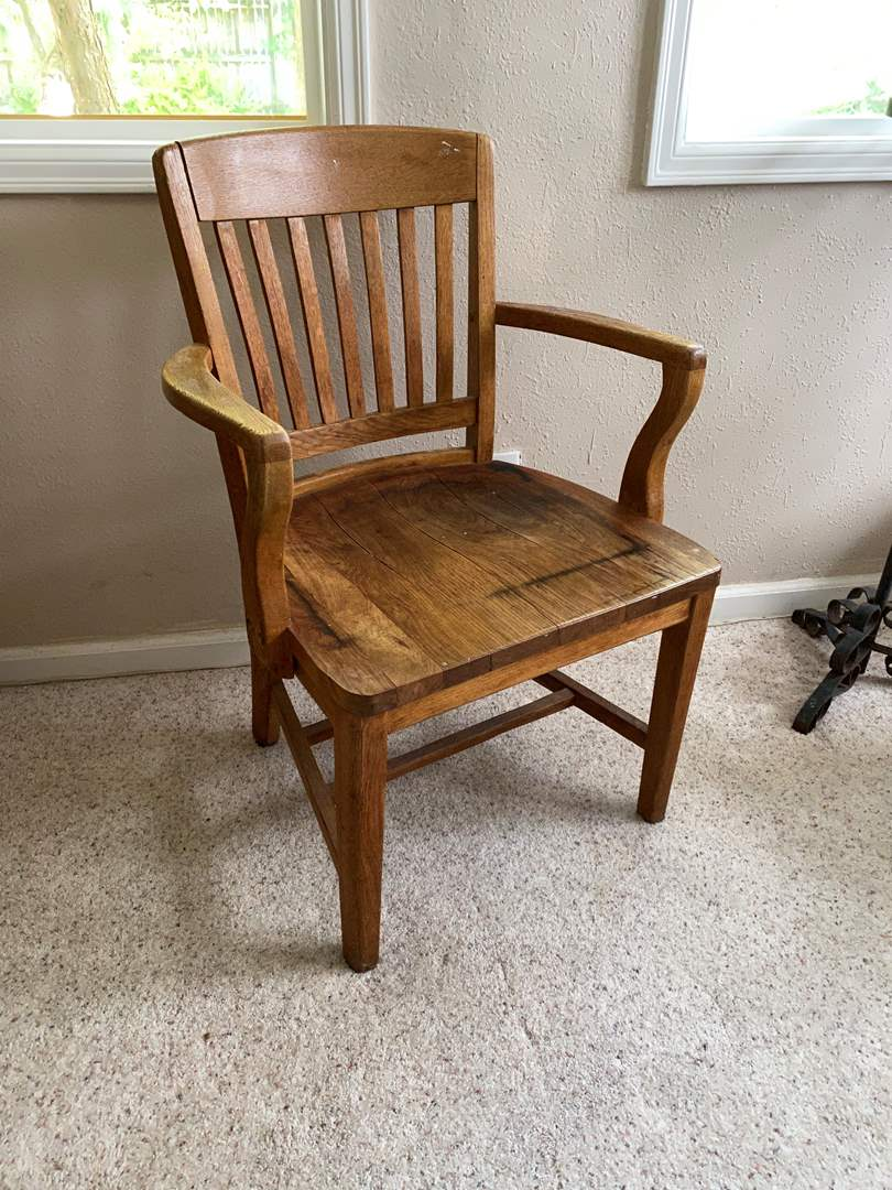"""Lot # 92 - Vintage/Antique Oak Office Chair from """"High Point Bending & Chair Co. (main image)"""