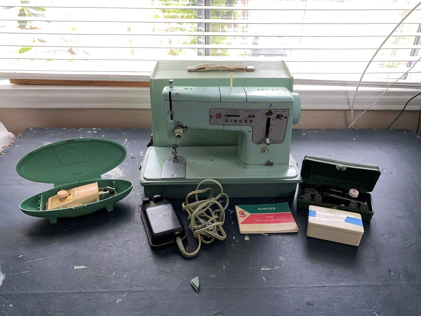 """Lot # 142 - Vintage Singer """"338"""" Sewing Machine w/Implements  (main image)"""