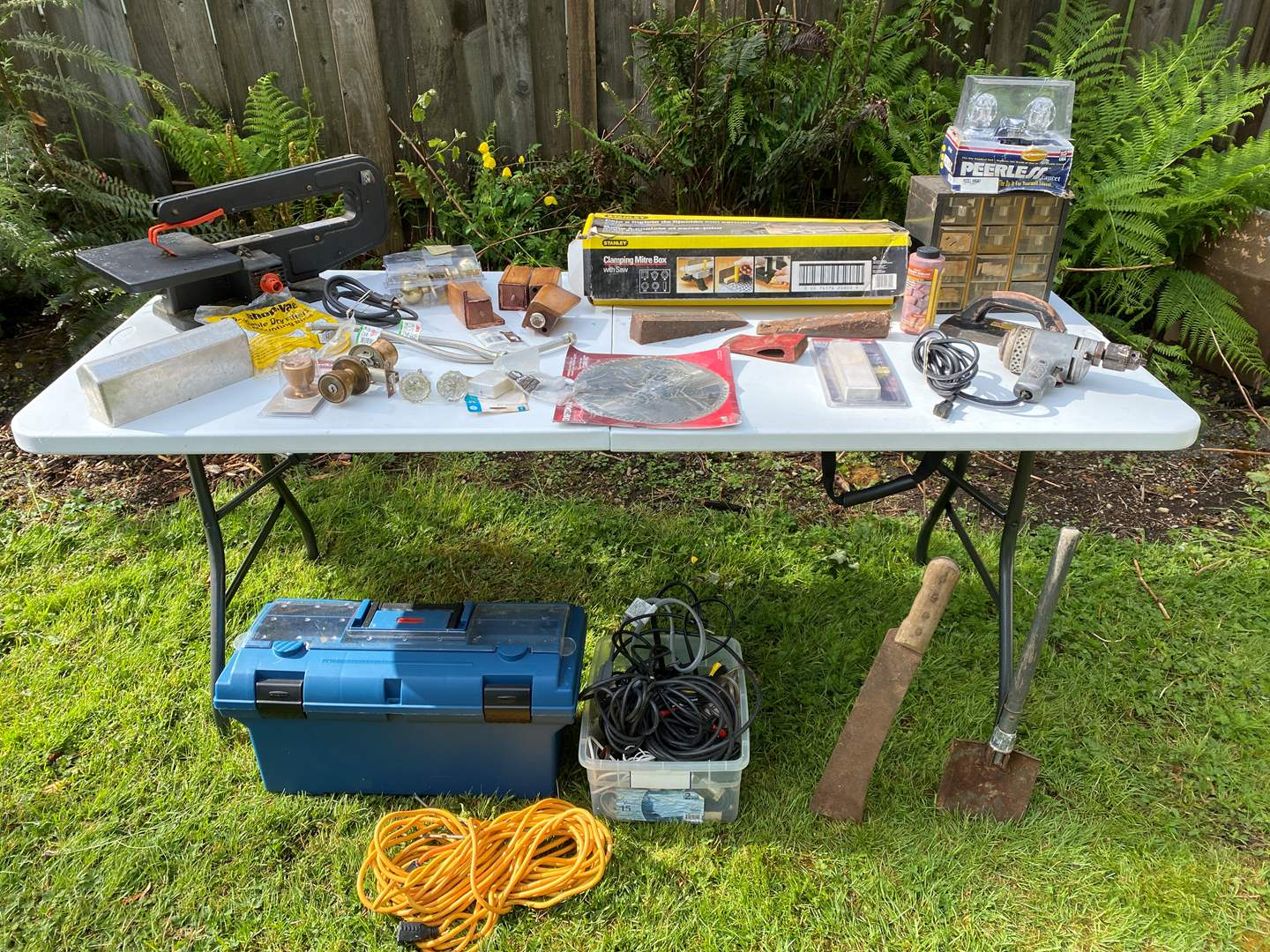 Lot # 234 - Selection of Tools & Hardware: New Toolbox, Solid Aluminum Anvil, Scroll Saw, Miter Box & More..  (main image)