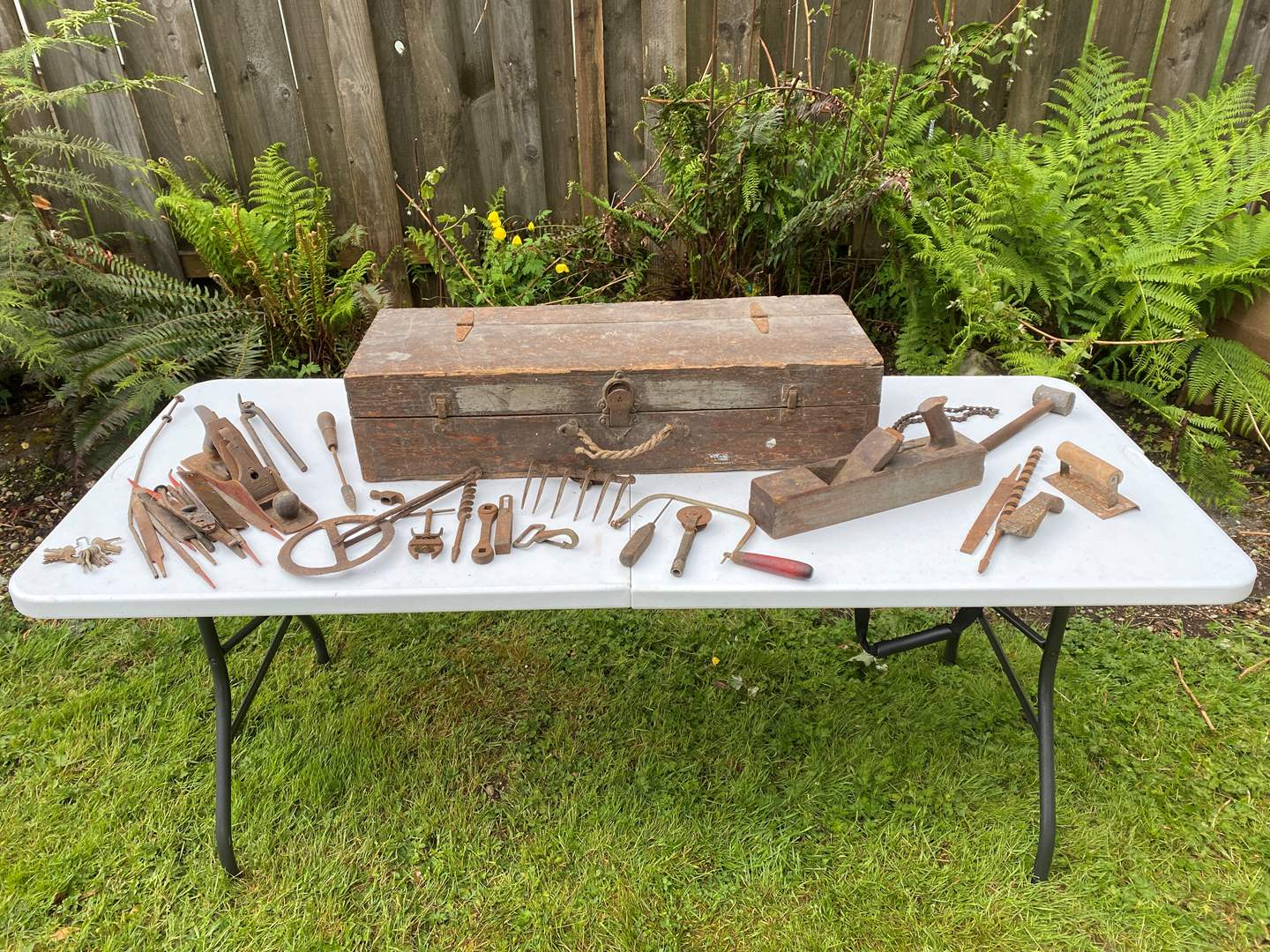 Lot # 236 - Antique Toolbox Filled w/Antique Tools (main image)