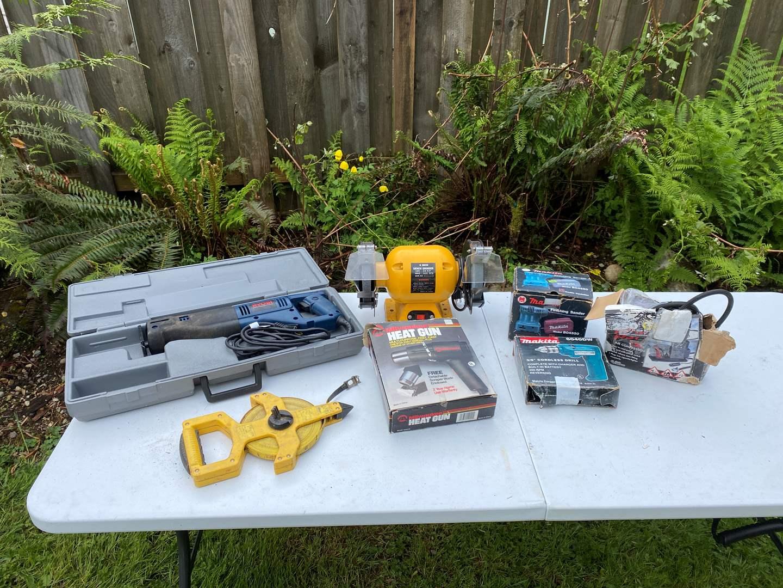 Lot # 237 - Ryobi Reciprocating Saw, Makita Drill & Sander, Bench Top Grinder, Heat Gun & More..  (main image)