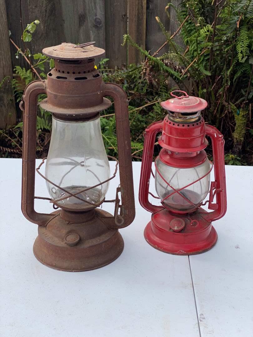 Lot # 243 - Antique Dietz No.2 Blizzard Lantern, Red Antique Ever Bright Lantern (main image)