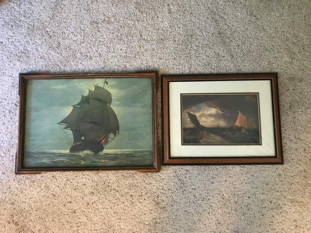 """Lot # 82 - Two Vintage Prints """"Midnight at Sea"""", Other Print Untitled  (main image)"""