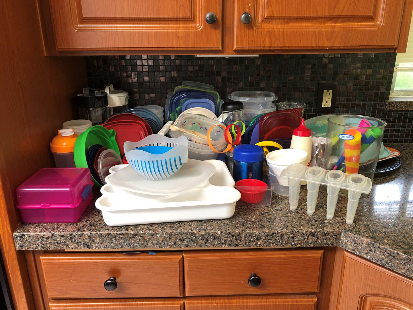 Lot # 59 - Large Selection of Misc. Plastic Food Storage & One Glass (main image)