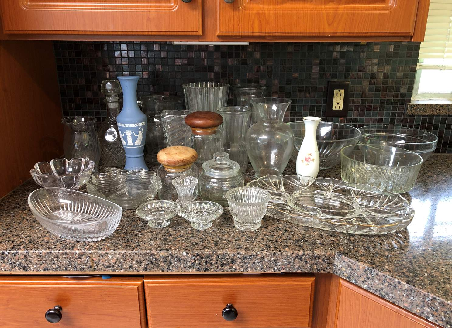 Lot # 60 - Crystal Items: Vases, Bowls, Serving Dish & Misc. Canisters (main image)