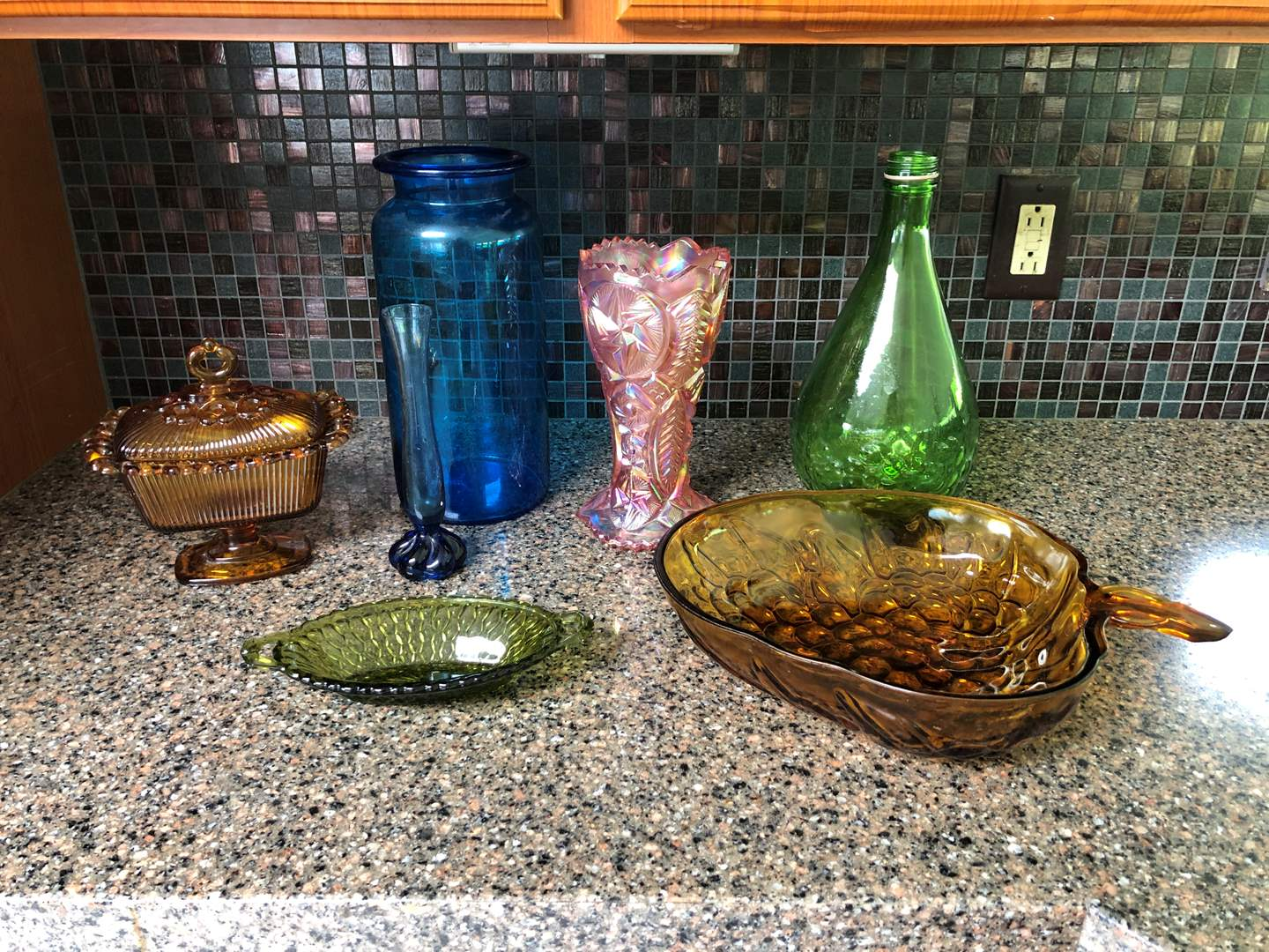 Lot # 61 - Selection of Amber Glass, Beautiful Pink Vase, Some Green & Blue Glass Items (main image)