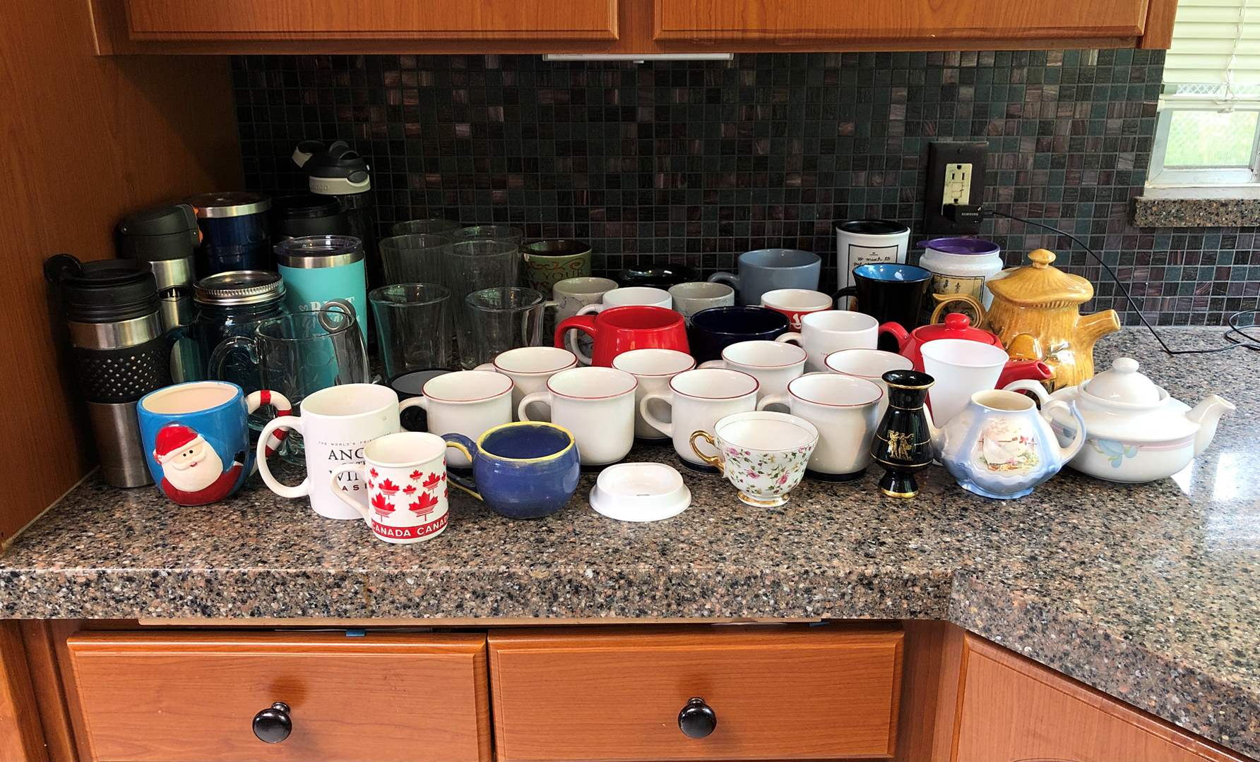Lot # 66 - Large Selection of Coffee Mugs, Misc. To-Go Cups, Awesome Mushroom Tea Pot  (main image)