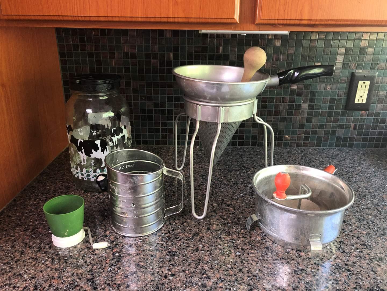 Lot # 68 - Vintage Items: Ricer, Jam Press, Siv & Juice Dispenser  (main image)