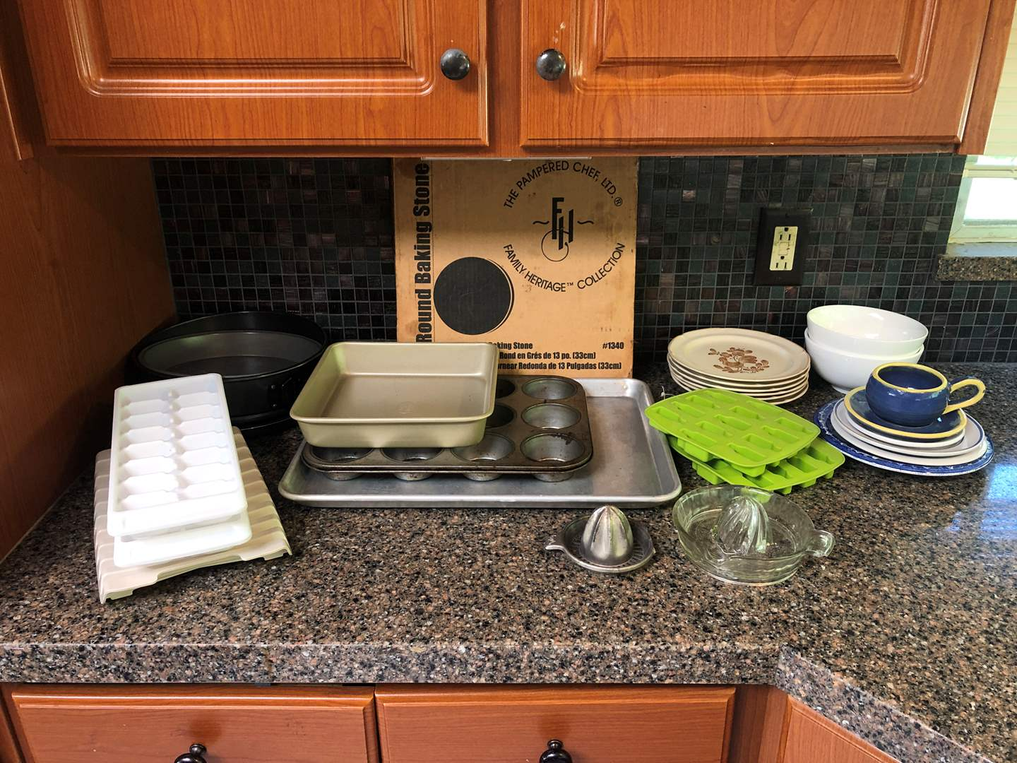 """Lot # 70 - Misc. Kitchen Items: Baking Stone, Cup Cake Pan, Finesse """"Weatherly"""" Stoneware Plates & More..  (main image)"""