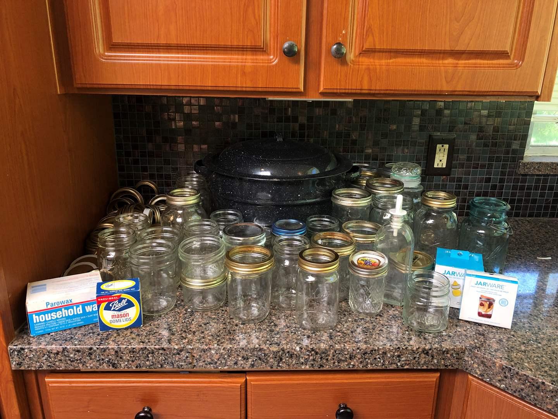 Lot # 137 - Large Kettle, Selection of Ball Mason Jars, Jar Ware & More..   (main image)