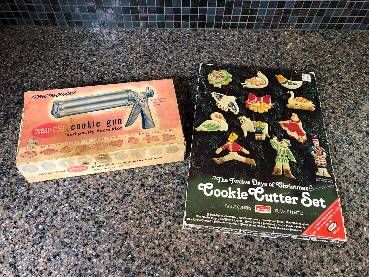 Lot # 143 - Vintage 12 Days of Christmas Cookie Cutter Set & Wear-Ever Cookie Gun (main image)