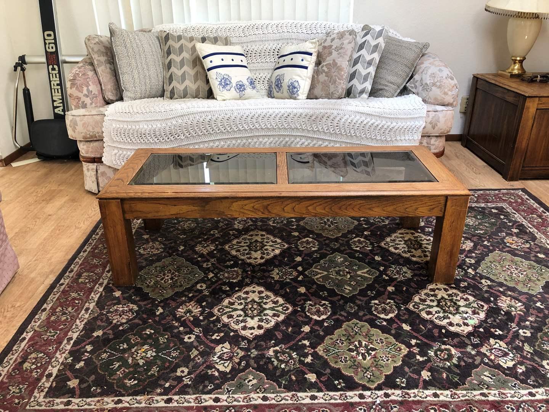 Lot # 150 - Wood Coffee Table w/Glass Insert (main image)