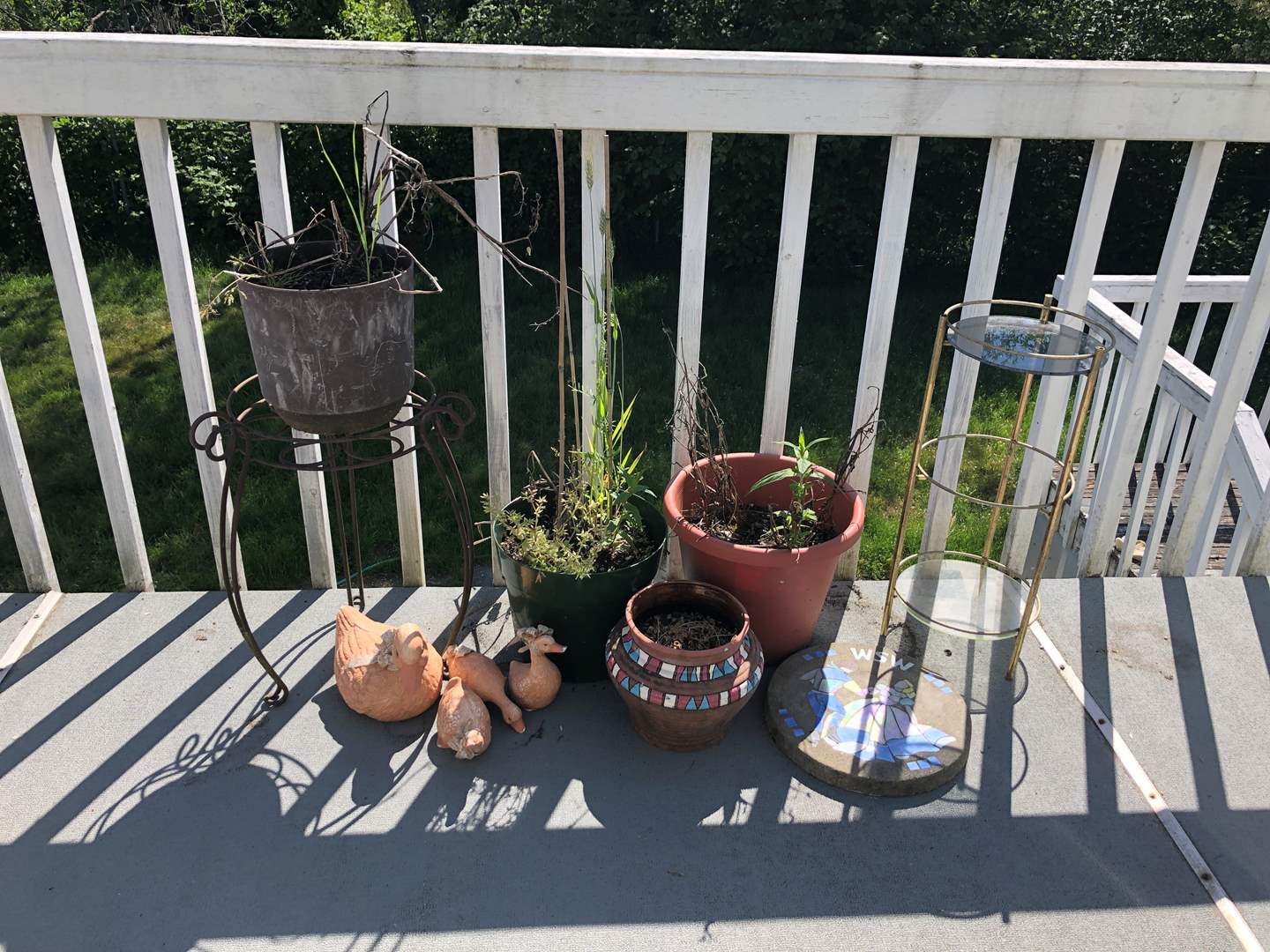 Lot # 216 - Plant Stands, Potted Plants, Cement Stepping Stone (main image)