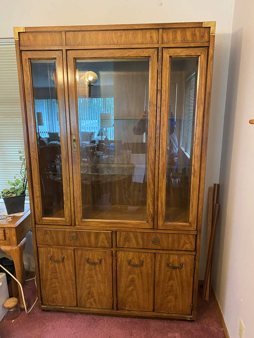"""Lot # 2 - Vintage """"Huntley by Thomasville"""" Pecan Wood Lighted China Hutch w/Dovetail Drawers (main image)"""