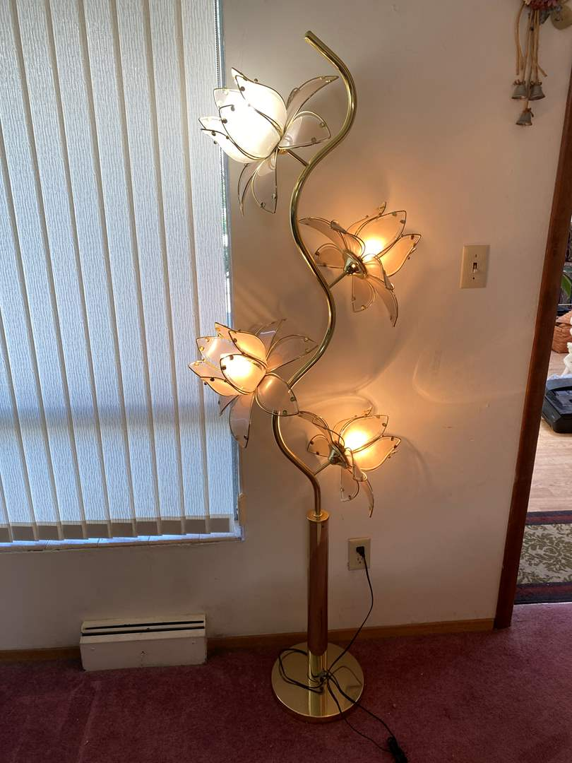 """Lot # 13 - Vintage Glass & Brass Floral Floor Lamp - Works 68"""" Tall  (main image)"""