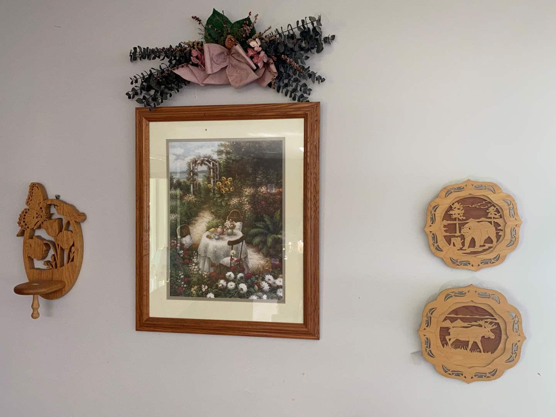 Lot # 14 - Framed Print w/Wood & Floral Decor  (main image)