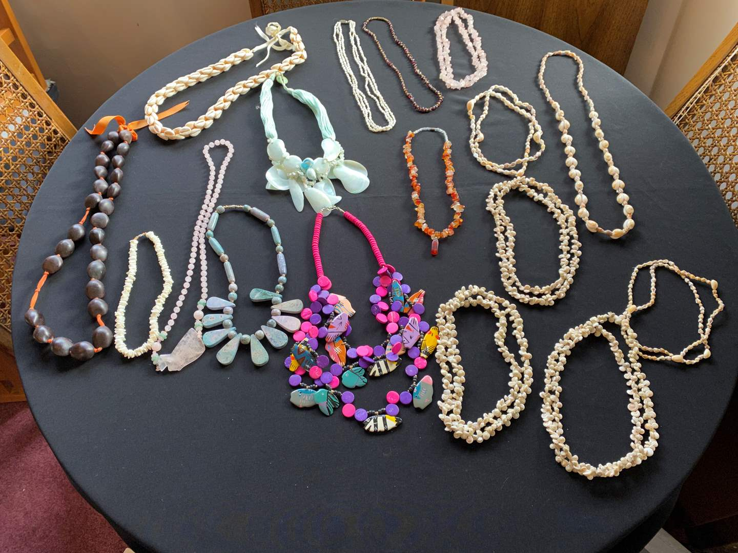 Lot # 186 - Vintage Necklaces Made of Shell, Stone, Pink Jade(?) & More..  (main image)