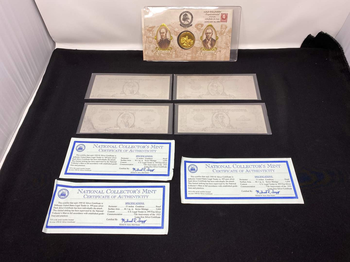Lot # 209 - Four 1999 $1.00 Silver Certificates, California Gold Rush 150th Anniversary Medal  (main image)