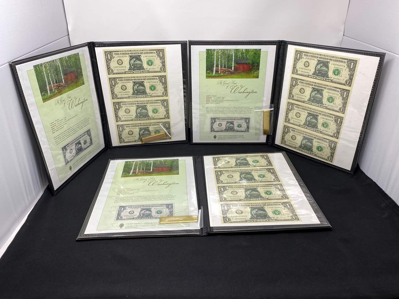 "Lot # 212 - Three Books of ""Washington - The Evergreen State"" $1.00 Bills. (main image)"