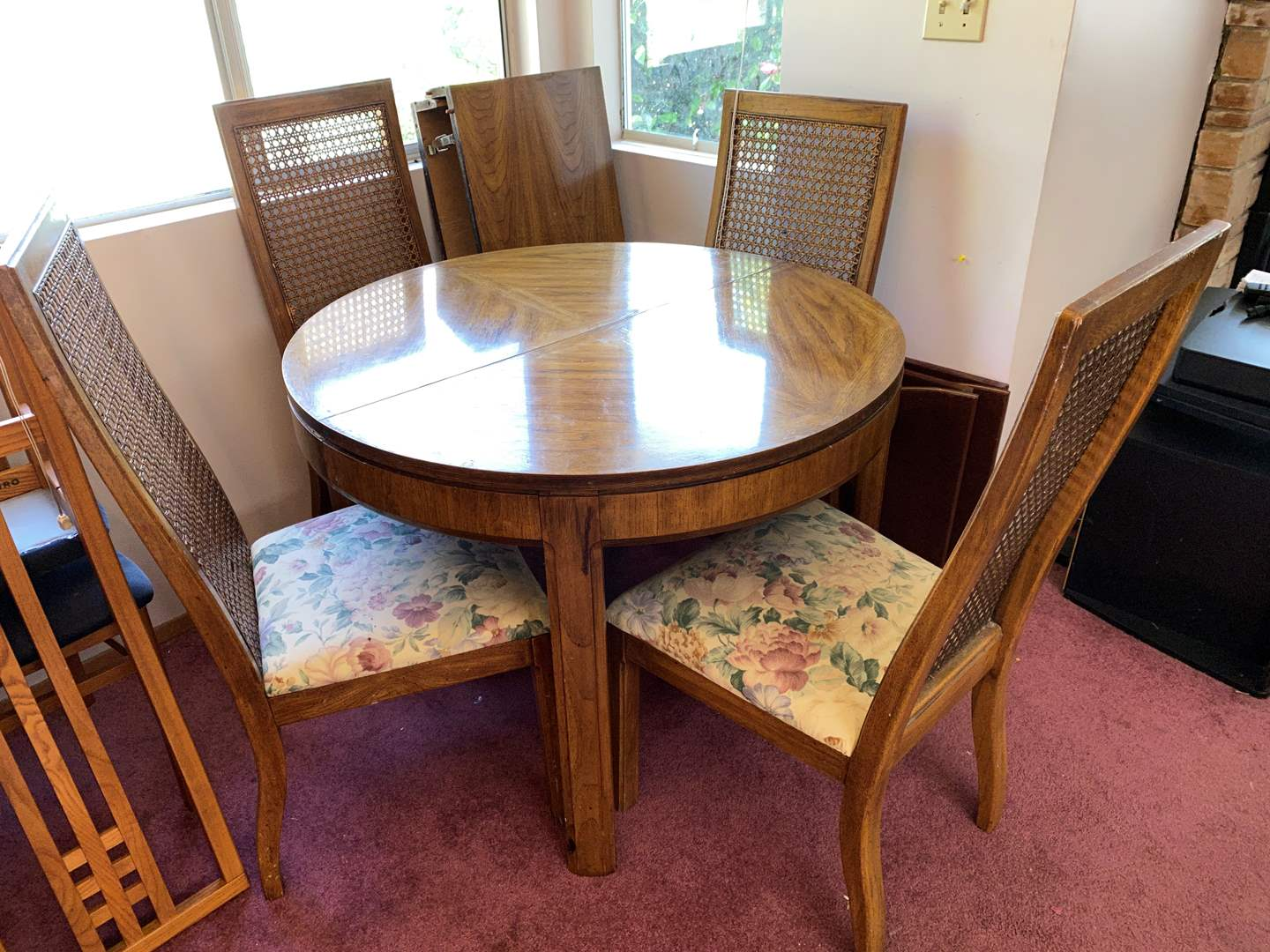 """Lot # 3 - Vintage """"Huntley by Thomasville"""" Pecan Wood Dining Room Table w/ Cane back Chairs (main image)"""