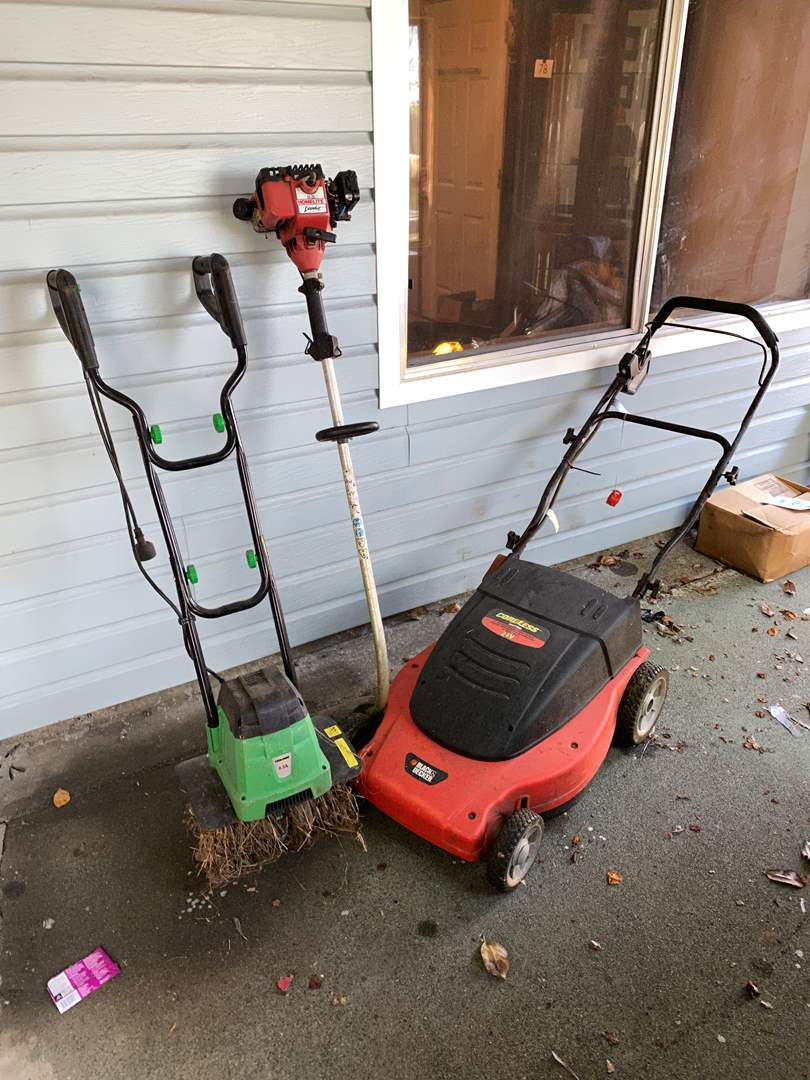 Lot # 236 - Cordless Lawnmower, Electric Tiller, Gas Wood Trimmer  (main image)