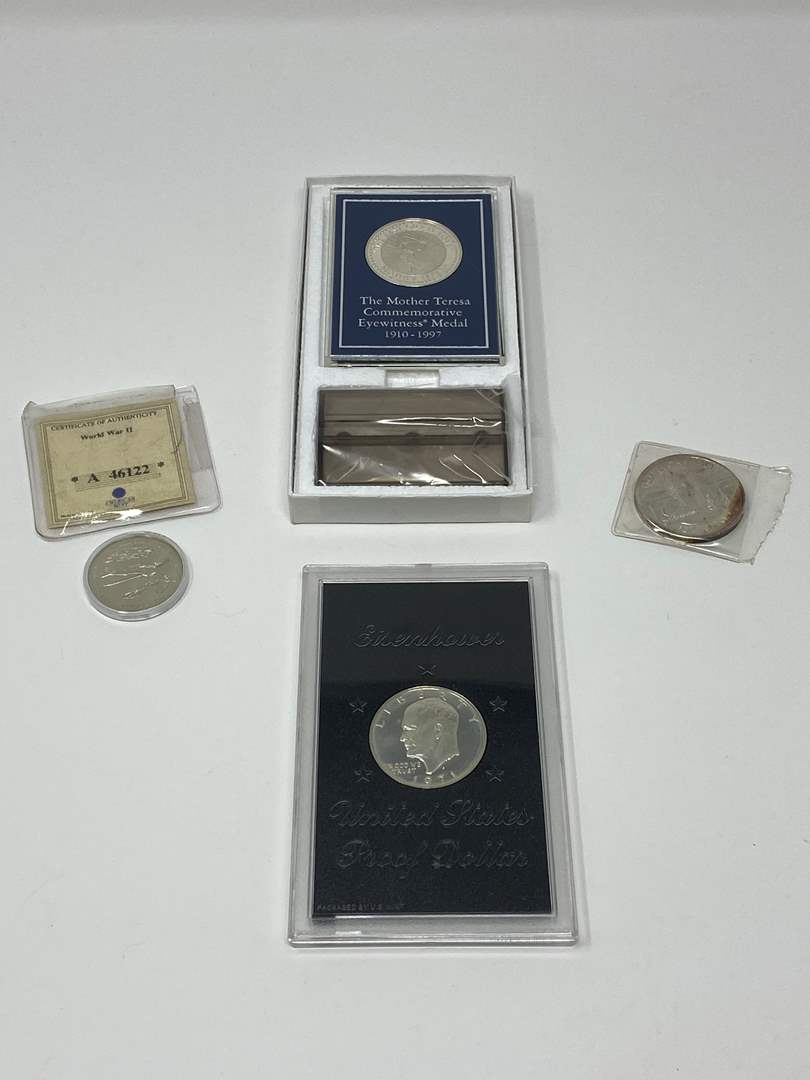 Lot # 258 - 1971 Eisenhower Proof Dollar, $5.00 WWII Coin, Fox Lions Club Fox, Alaska, One Troy Ounce .999 Silver  (main image)