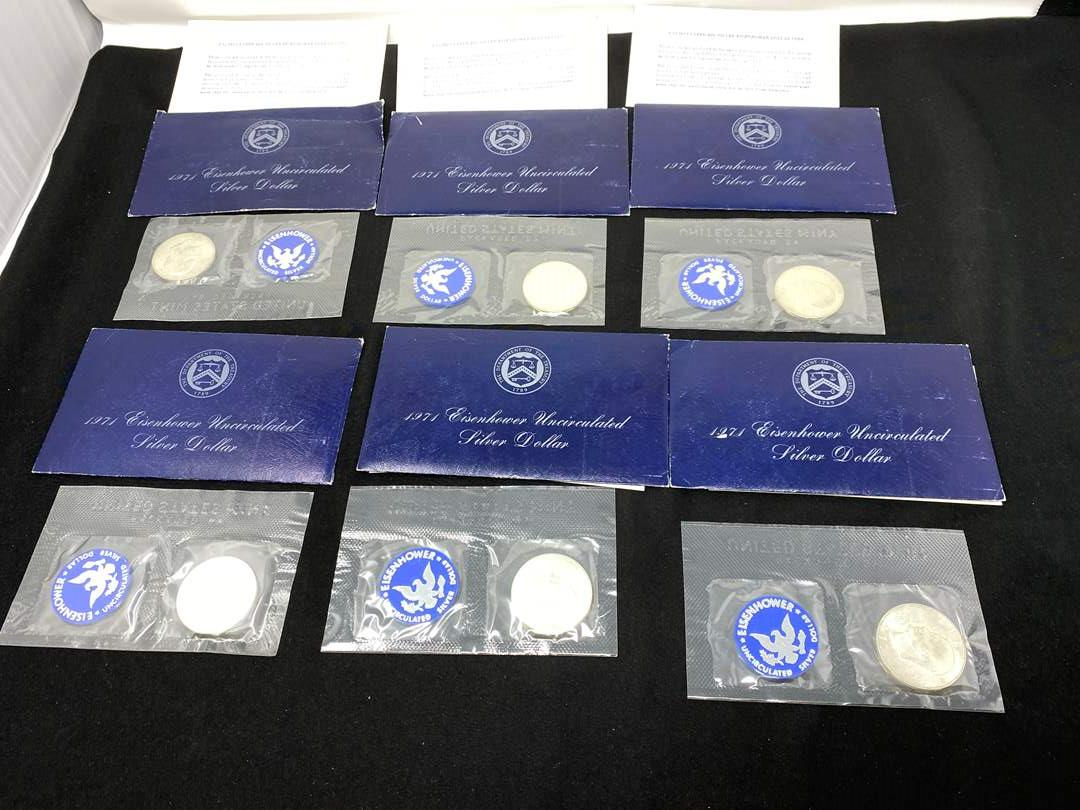 Lot # 208 - Six Uncirculated 1971 Silver Eisenhower Dollars (main image)