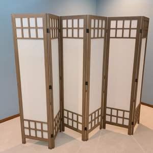 Lot#7 Oriental Wood & Canvas Room Divider