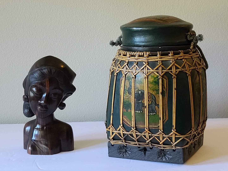 Lot#21 Statue & Rice Basket (main image)
