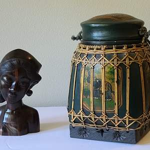 Lot#21 Statue & Rice Basket