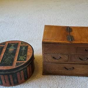 Lot#76 Hat Box & Wooden Chest