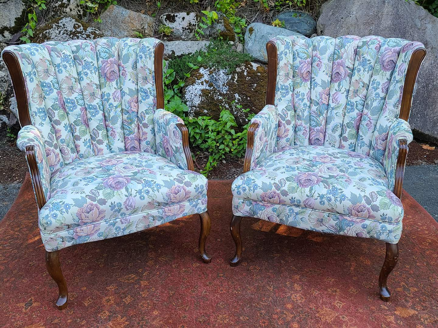 Lot#53 Beautiful Upholstered Chairs w/ Wood Legs & Accents (main image)