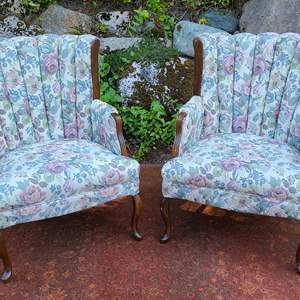 Lot#53 Beautiful Upholstered Chairs w/ Wood Legs & Accents