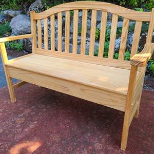 Lot#58 Solid Wood Bench w/Storage