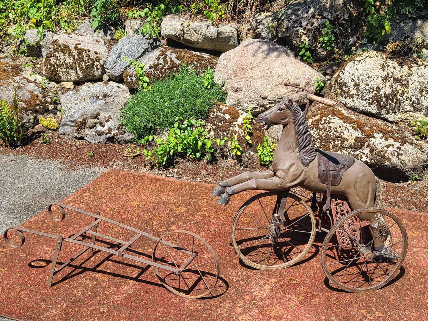 Lot#90 Antique Horse Tricycle & Ghost Wheelbarrow (main image)