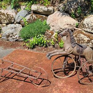 Lot#90 Antique Horse Tricycle & Ghost Wheelbarrow