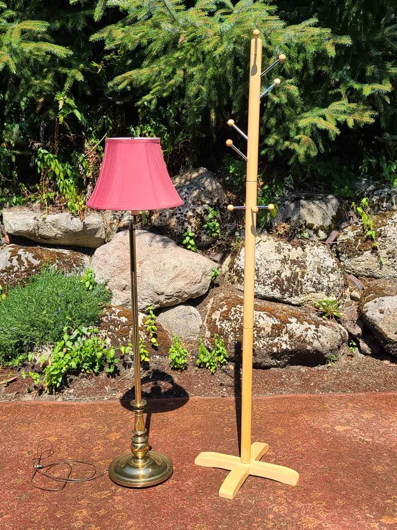 Lot#91 Floor Lamp & Coat Rack (main image)