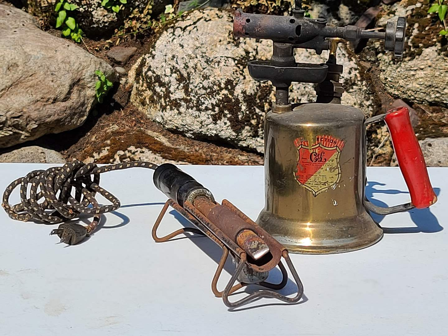 Lot#95 Antique Blow Torch & Soldering Iron (main image)