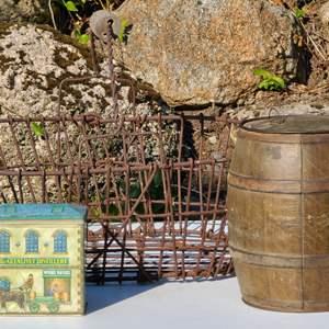 Lot#104 Antique Wire Basket & Friends
