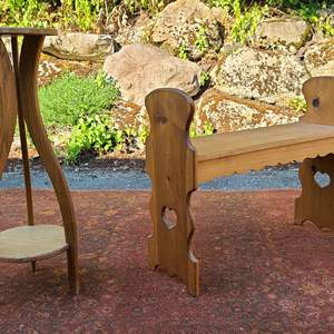 Lot#105 Wood Bench & Lamp Stand