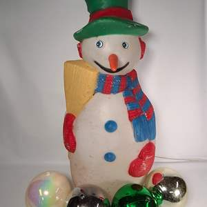 Lot#167 Frosty Blow Mold & Large Ornaments
