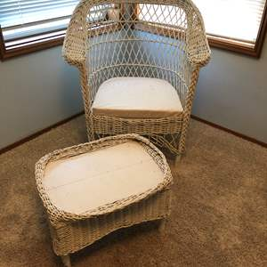 Lot # 33 - Vintage Pacific Fibre Furniture Co. Wicker Chair & Foot Stool