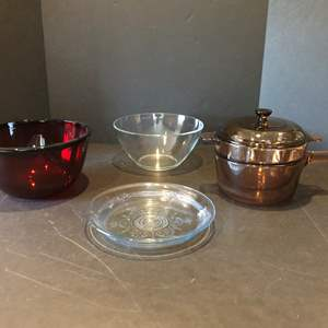Lot # 114 - Vision Double Broiler, Fire King Pie Plate, Beautiful Cranberry Arcoroc Mixing Bowl