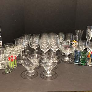 Lot # 121 - Large Selection of Stemware of Various Sizes & Some Drinking Glasses