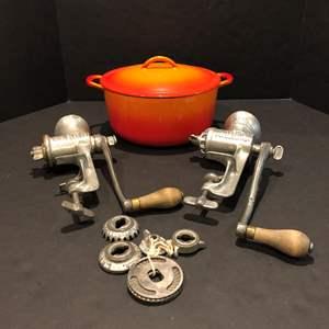 Lot # 123 - Cast Iron/Enamel Dutch Oven & 2 Vintage Meat Grinders