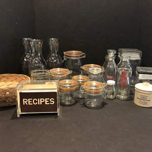 Lot # 144 - Awesome Selection of Vintage Jars, Milk Bottles, Canisters & More..