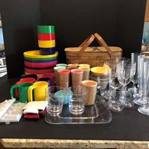 Lot # 145 - Picnic Basket, Plastic Cups, Plates, Serving Dishes & More..