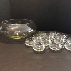 Lot # 147 - Awesome Large Punch Bowl Set w/12 Cups