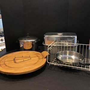 Lot # 151 - Farberware Pot & Pan, Wood Carving Platter, Buffet Style Tray w/Lid